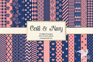 Coral and Navy Scrapbook Paper