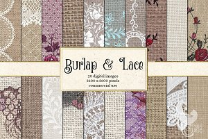 Burlap and Lace Graphics Pack