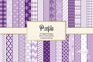 Purple Patterns Digital Paper