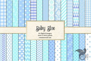 Baby Blue Patterns Digital Paper