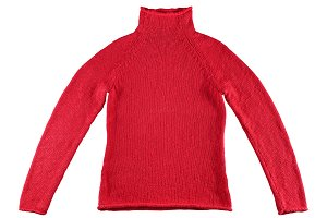 Red cotton sweater isolated on white