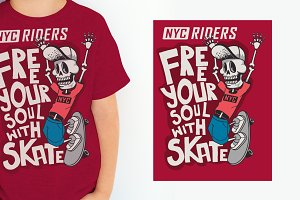 cool skater skeleton vector design