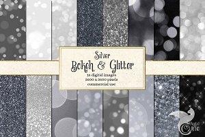 Silver Bokeh & Glitter Digital Paper