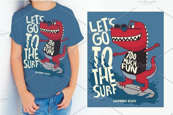 Funny Surfer Dinosaur Vector Design