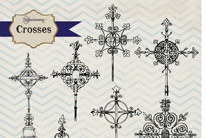 Vintage Crosses Clipart & Brushes