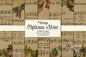 Old Christmas Music Digital Paper