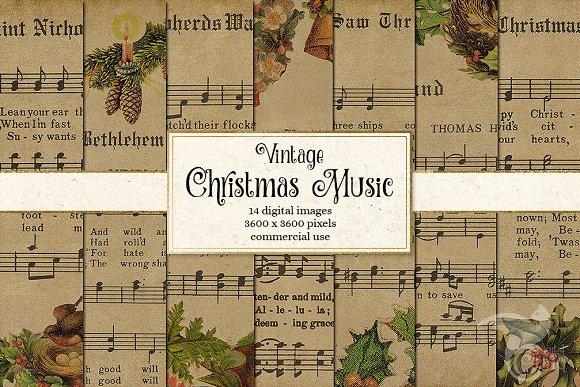 Old Christmas Carols.Old Christmas Music Digital Paper