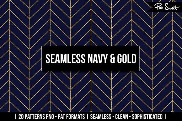 Seamless Navy Gold 20 Pattern Set