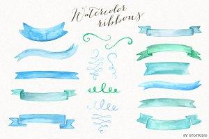 Watercolor Ribbons & Ornaments