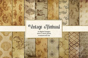 Vintage Mermaid Nautical Backgrounds