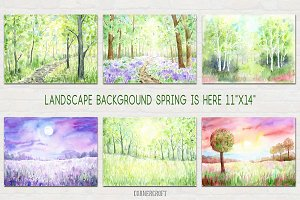 Watercolour Landscape Spring