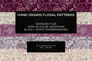 Hand Drawn Floral Pattern Set
