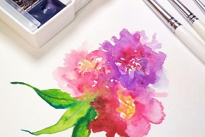 Watercolor flower floral composition