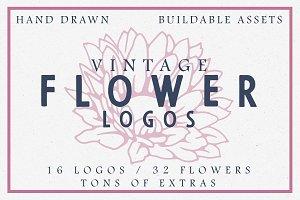Vintage Flower Logos + extras