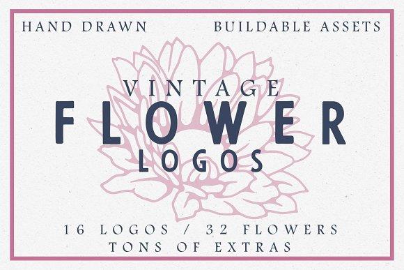 16 Vintage Flower Logos Extras