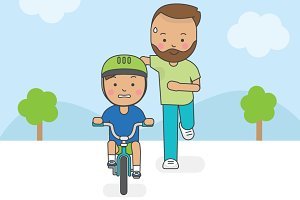 Dad teaching son to ride a bike