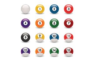 Realistic billiard ball set vector