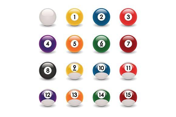 Realistic Billiard Ball Set Vector