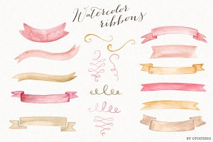 Watercolor Ribbons & Ornaments