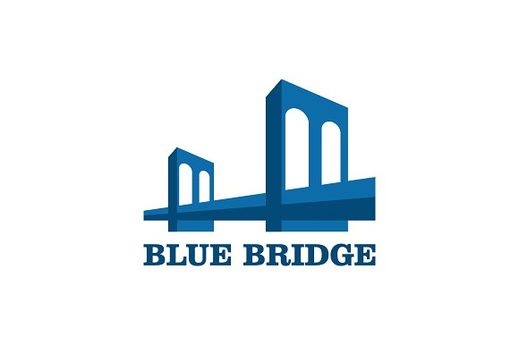 Modern Bridge Logo In Blue Color Vec