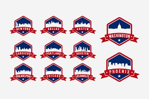 America City Skyline in badge logo