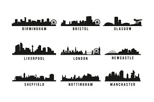 set of Great Britain big cities skyl