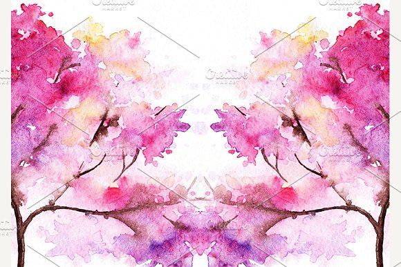 Watercolor Pink Cherry Sakura Tree