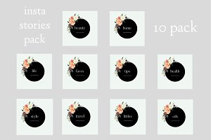 Black & Floral Insta Stories Pack