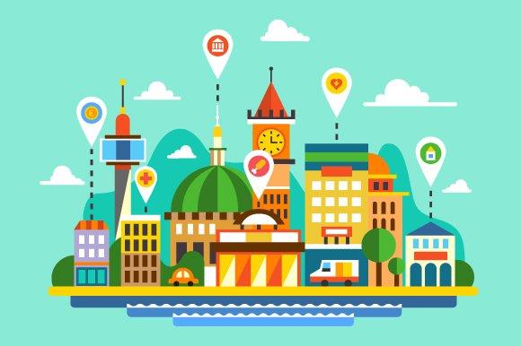 City map. Navigator. Locations - Illustrations
