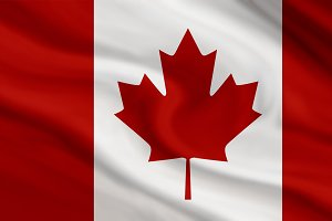 Canada flag of canvas background