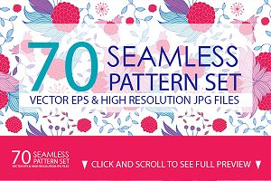 70 Seamless Floral Pattern Set