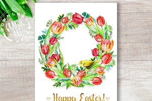 Printable easter cards&#x3B;Easter Wreath
