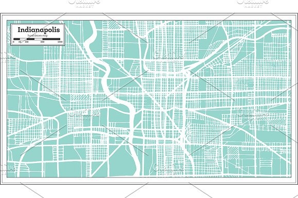 Indianapolis USA City Map In Retro