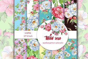 Wild rose, seamless patterns
