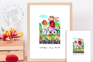 Easter Bunny Cute Print
