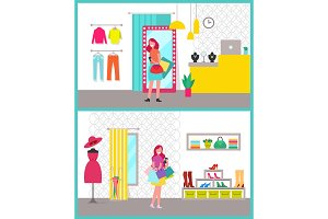 Women Shopping Posters Set Vector Illustration