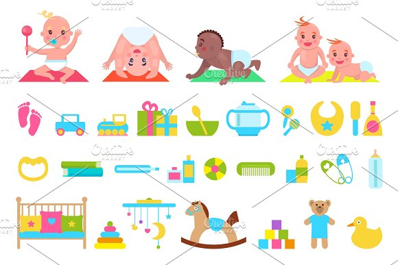 Playful Children And Toys Set Vector Illustration