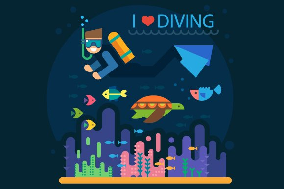 Summer. Diving - Illustrations