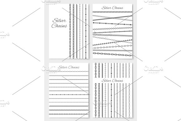 Set Of Silver Chains Layouts Vector Illustration