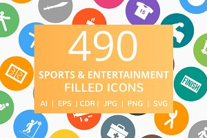 490 Entertainment Filled Round Icons
