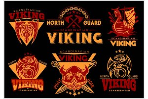 Vintage viking emblems set with scandinavian elements on dark background