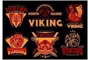Vintage viking emblems set with scandinavian elements on dark background