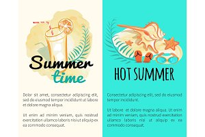 Summer Time Hot Vacation Posters with Attributes