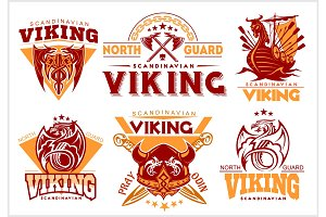 Vintage viking emblems set with scandinavian elements on white background