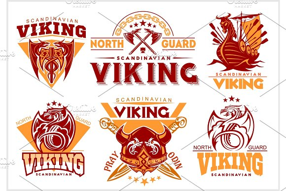 Vintage Viking Emblems Set With Scandinavian Elements On White Background