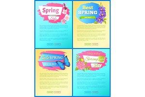 Color Spring Sale Posters Set Discount Butterflies