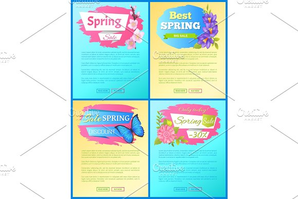 Color Spring Sale Posters Set Discount Butterflies