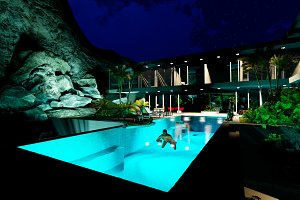 3D render swim in the pool at night