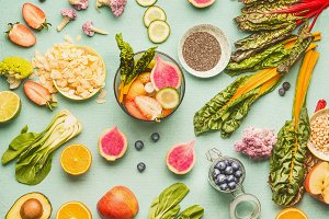 Healthy food ingredients flat lay