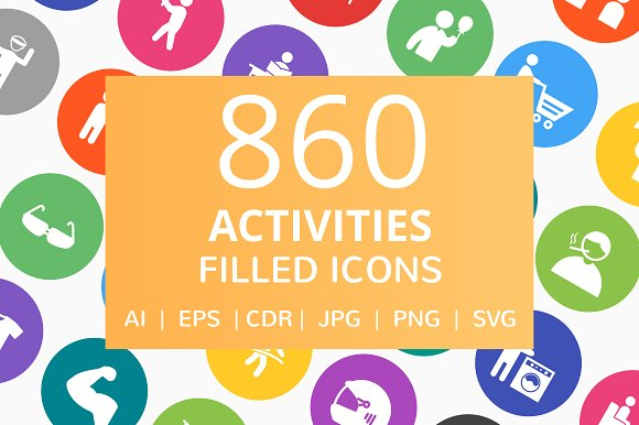 860 Activities Filled Round Icons
